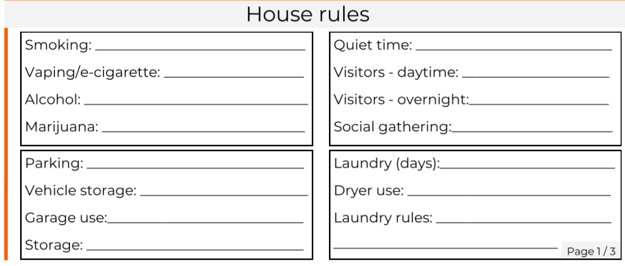 Move-in house rules